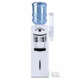Кулер Ecotronic K21-LF white+black с холодильником вид спереди, с подстаканником